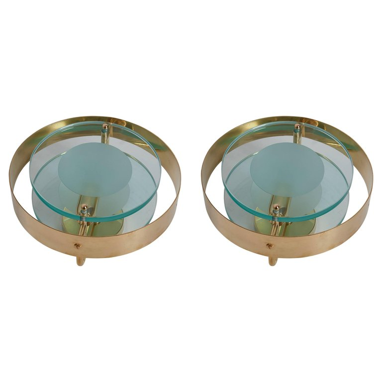 Pair of Brass and Glass Sconces in the Manner of Max Ingrand and Fontana Arte