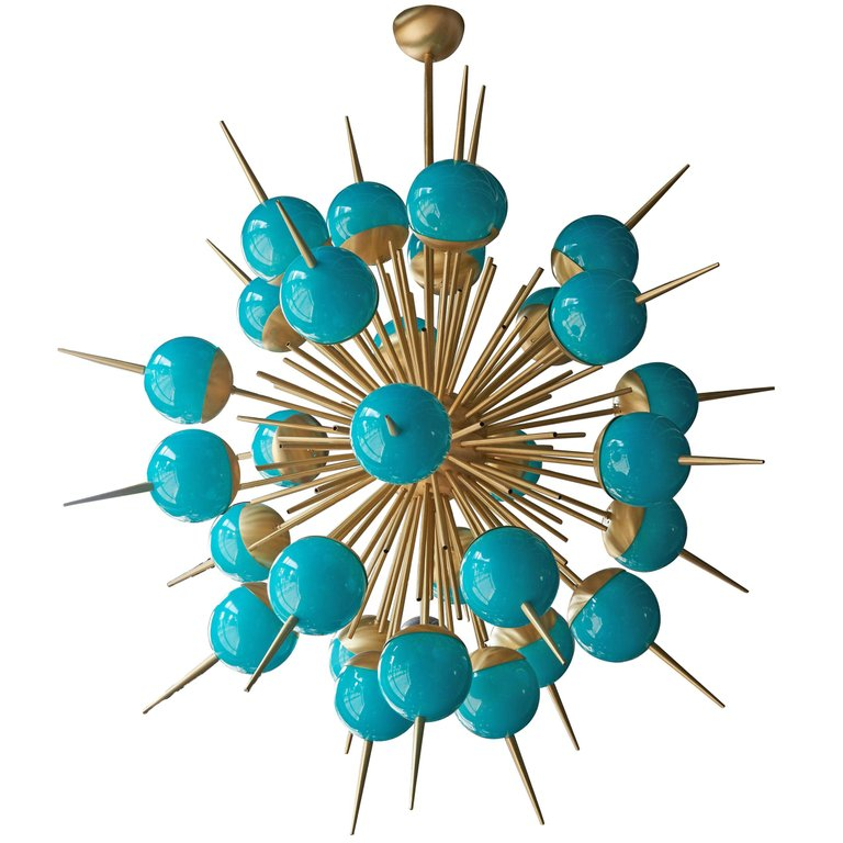 1 of 2 Huge Tiffany Turquoise Murano Glass and Brass Sputnik Chandeliers attributed to Stilnovo