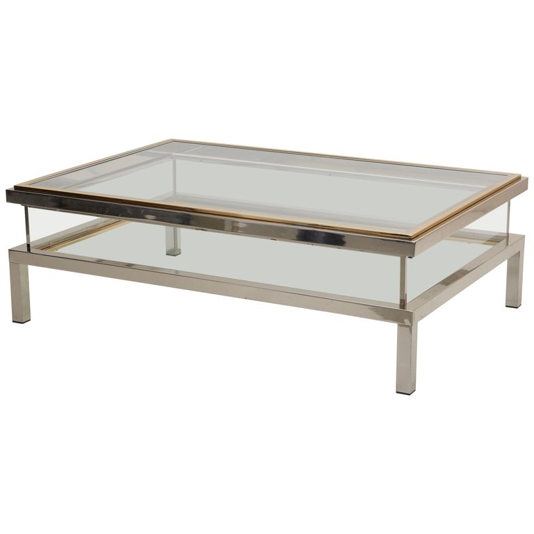 Outstanding Maison Jansen Sliding Top Coffee Table in Brass and Chrome
