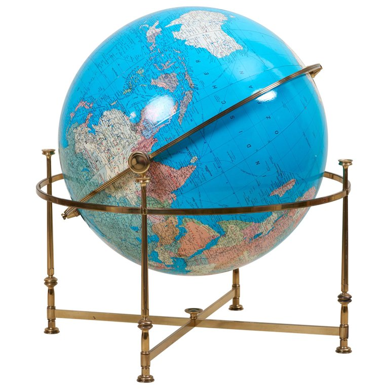 Huge Vintage Illuminated Globe with Brass Stand
