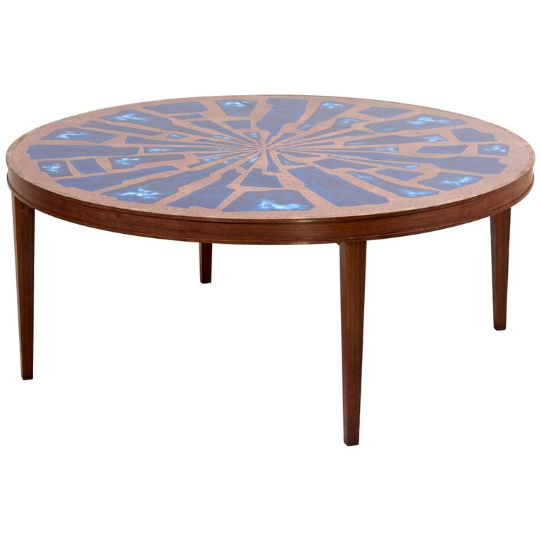 Stunning Rare Wood Coffee Table with Copper and Enamel Top