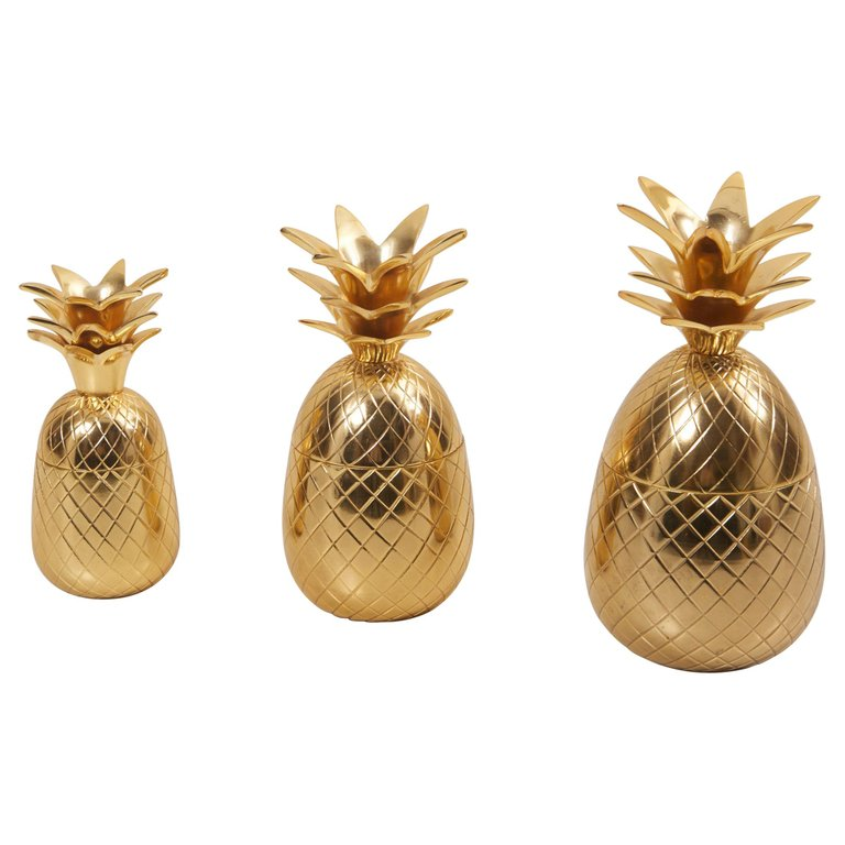 Set of 3 Brass Pineapple Ice Buckets or Candy Boxes