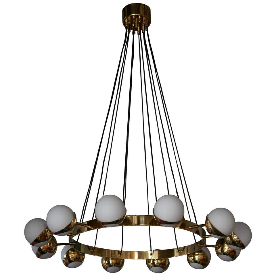 1 of 2 Huge Stilnovo Style Brass and Murano Glass Chandelier
