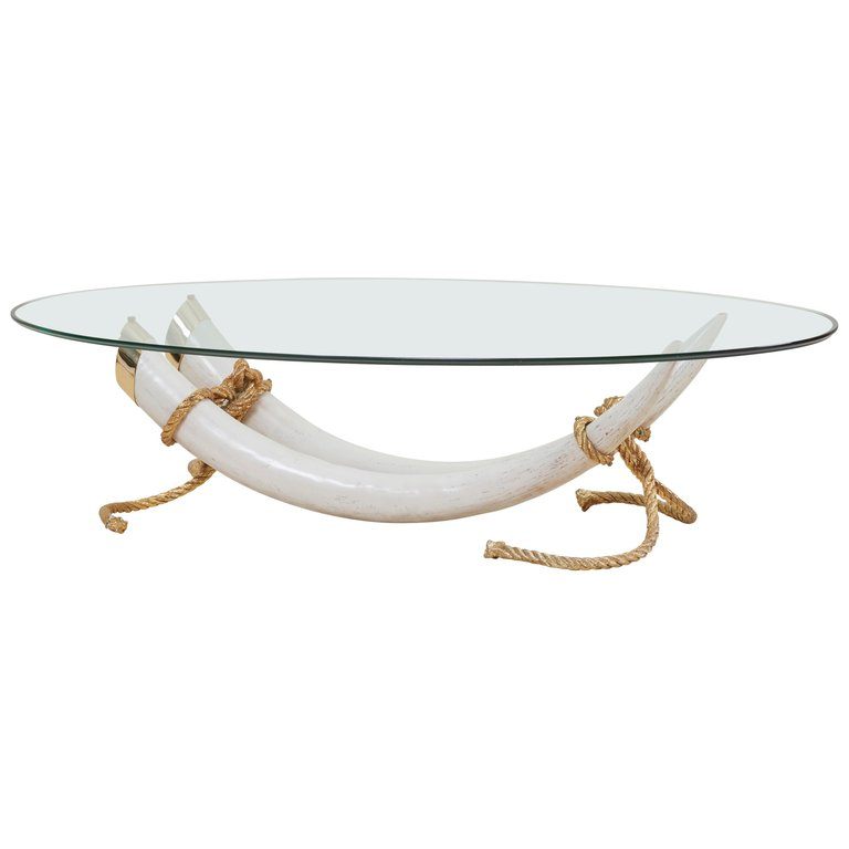 Monumental Faux Elephant Tusk Coffee Table Attributed to Maison Jansen