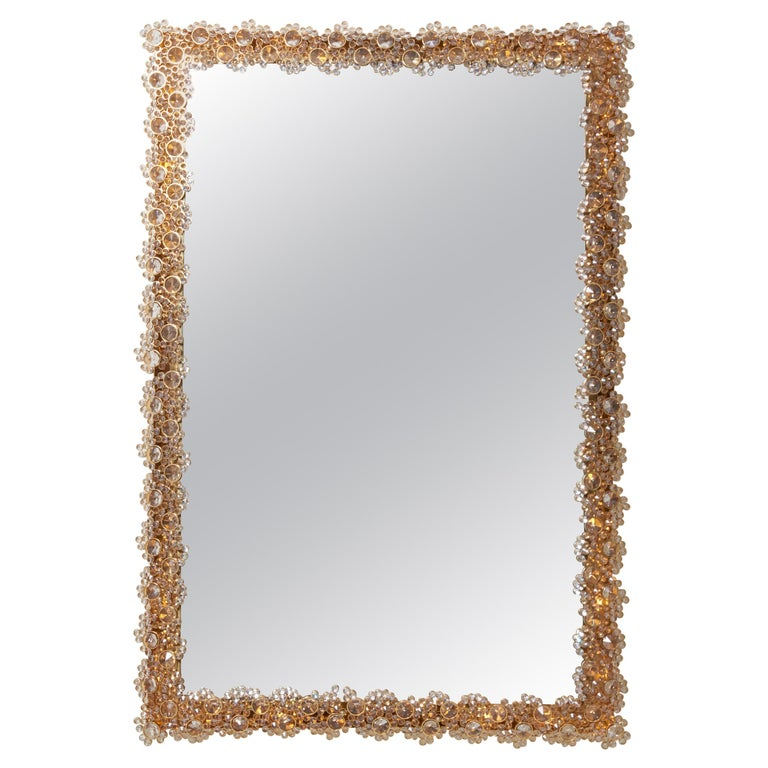 Outstanding Square Illuminated Palwa Crystal Glass Mirror, Model S100W