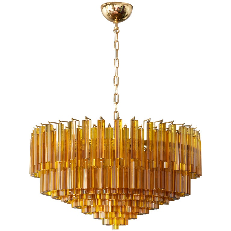 Monumental Amber Murano Glass Chandelier or Flush Mount Attributed to Venini
