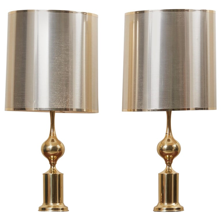 Huge Pair of Hollywood Regency Design Table Lamps in Brass with Metallic Shade