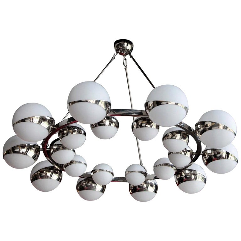 One of Two Very Huge Stilnovo Style Murano Glass and Chrome Chandelier