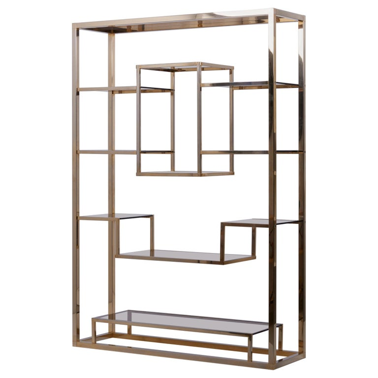 Very Huge Brass and Tinted Glass Bookshelf or Étagère by Romeo Rega
