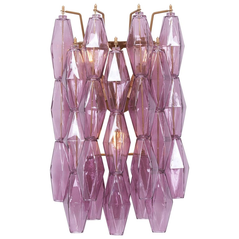 1 of 4 Amethyst Polyhedral Glass Sconces or Wall Lamps in the Manner of Venini