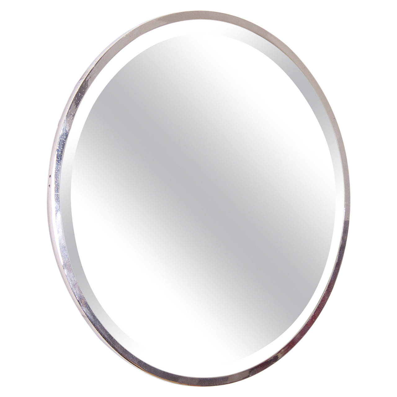Round Nickel Plated French Art Deco Wall Mirror