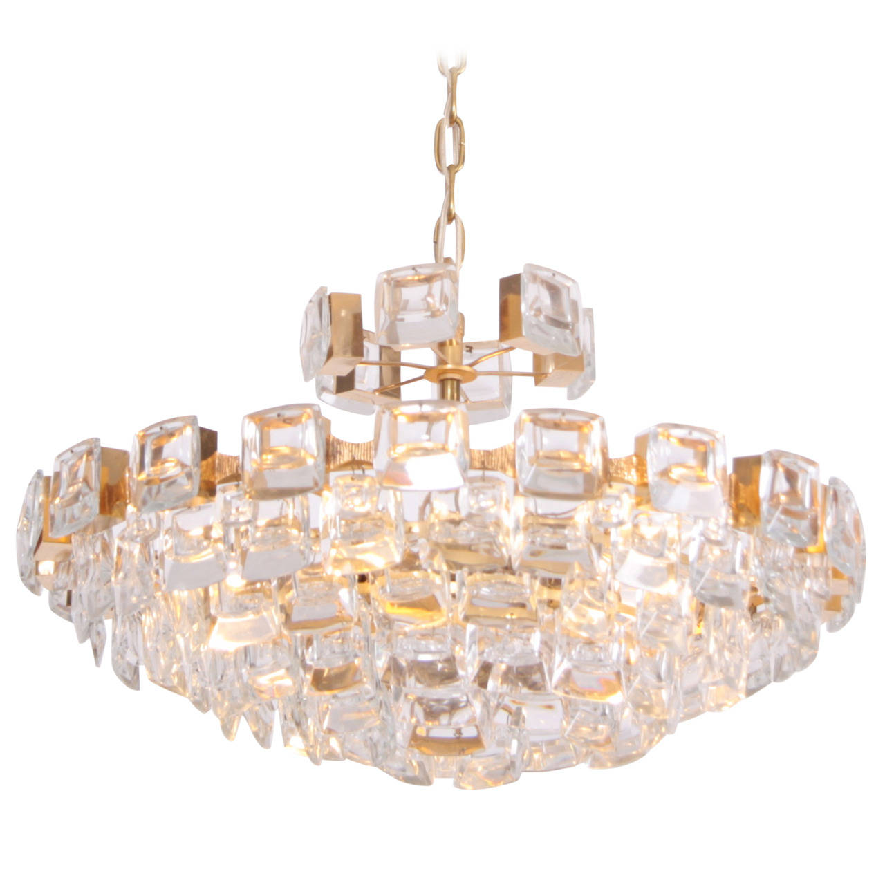 Glamorous Palwa Gilded Brass and Glass Jewel Chandelier
