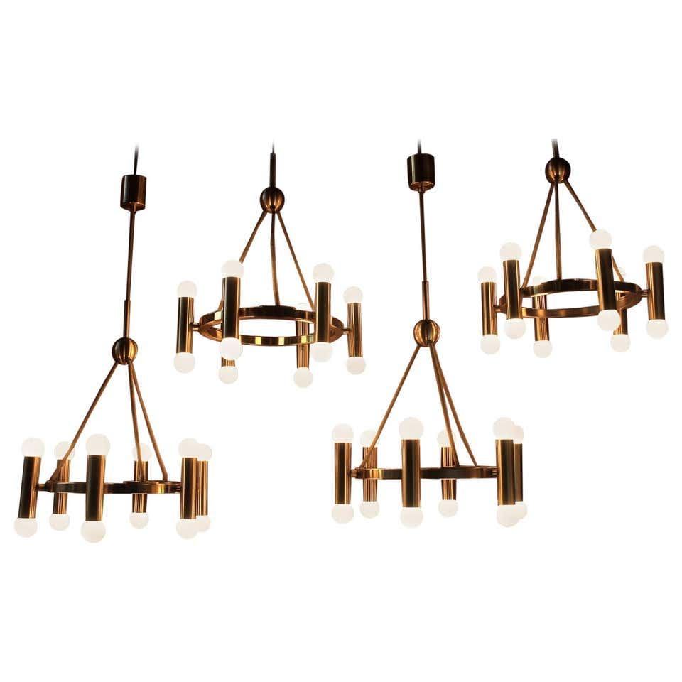 Set of 4 Church Chandelier Heavy Brass, Germany, 1960s