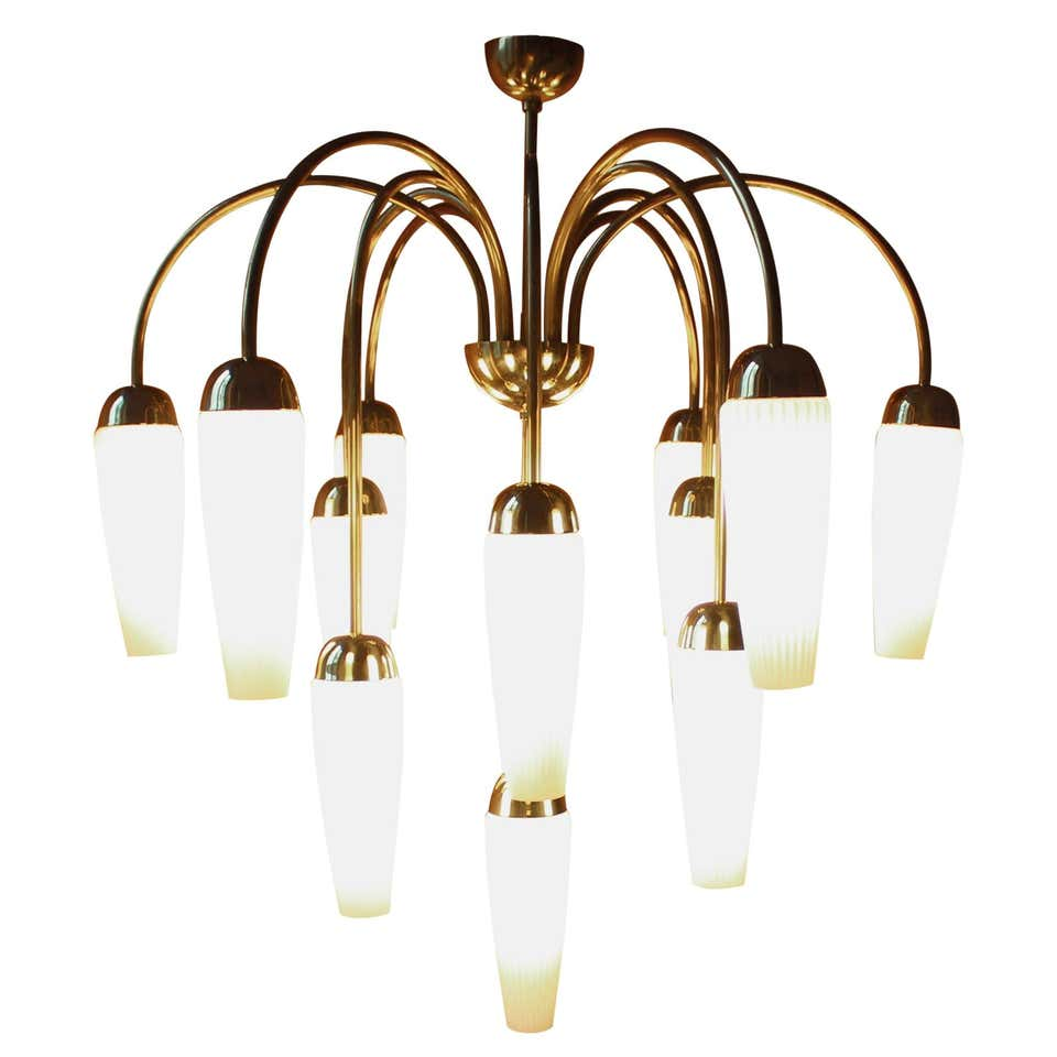 Tulip Brass Chandelier, Germany, 1950s