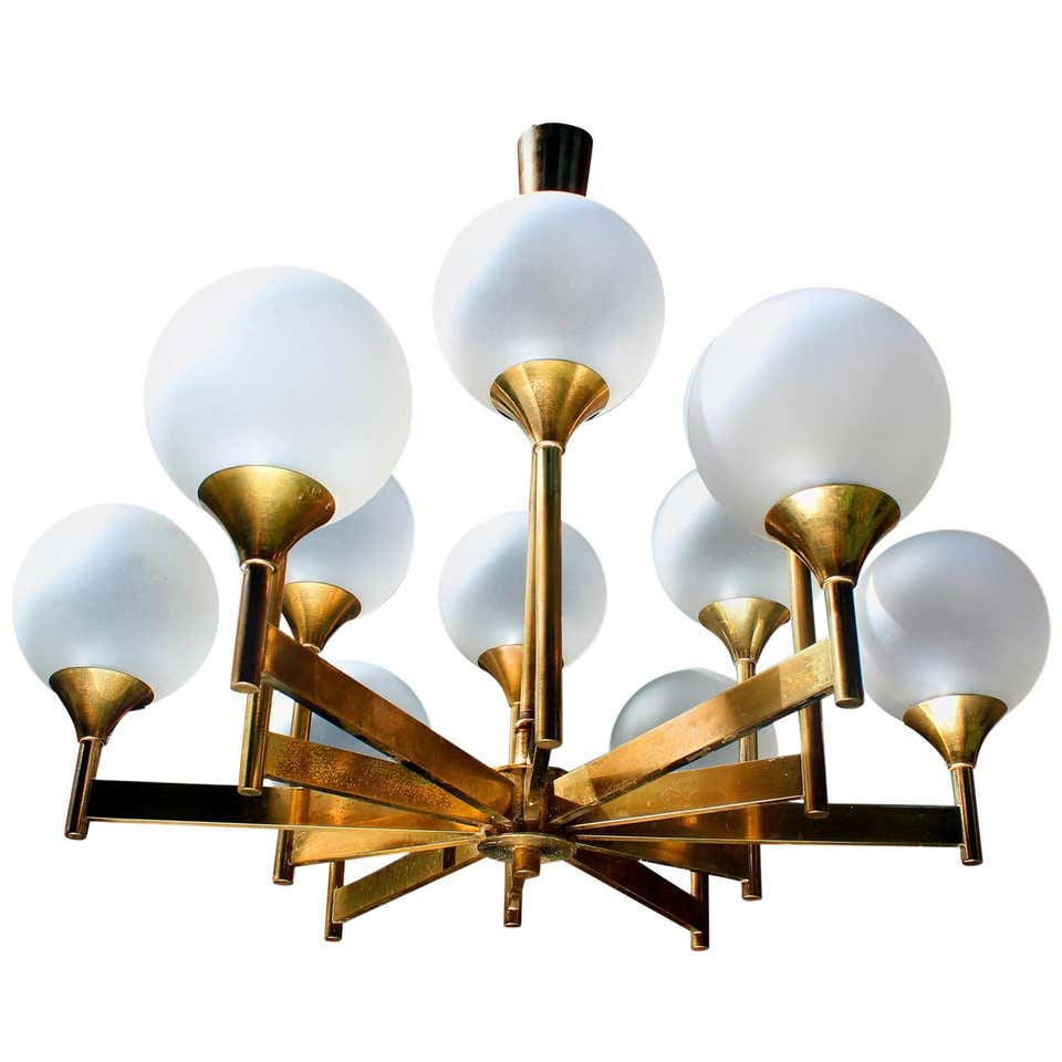 12 Glass Globes Brass Chandelier, 1960s-1970s