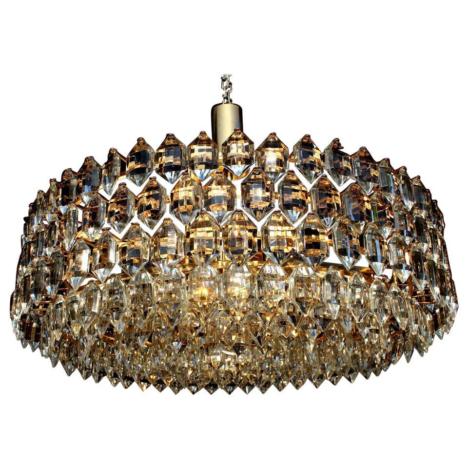Grand Gilt Schröder & Co. Drum 8-Tier Lead Crystal Chandelier, Germany, 1970s