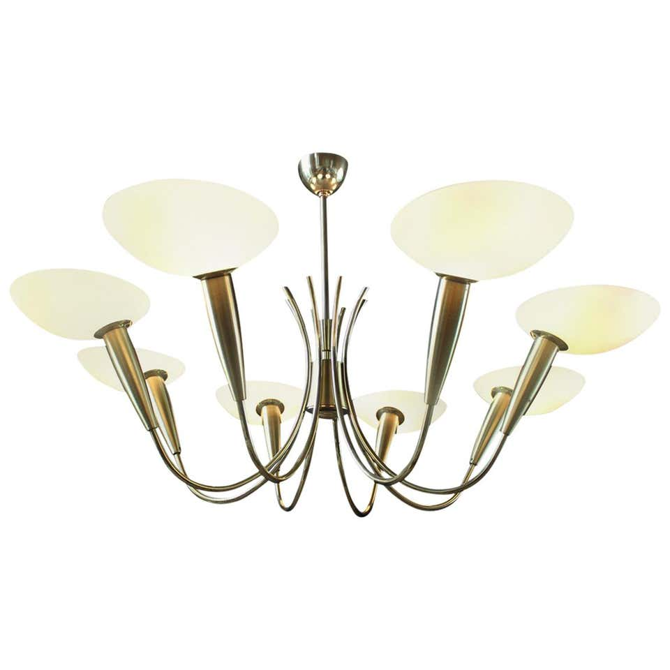 Elegant Brass and Art Glass Chandelier, Italy, 1950s