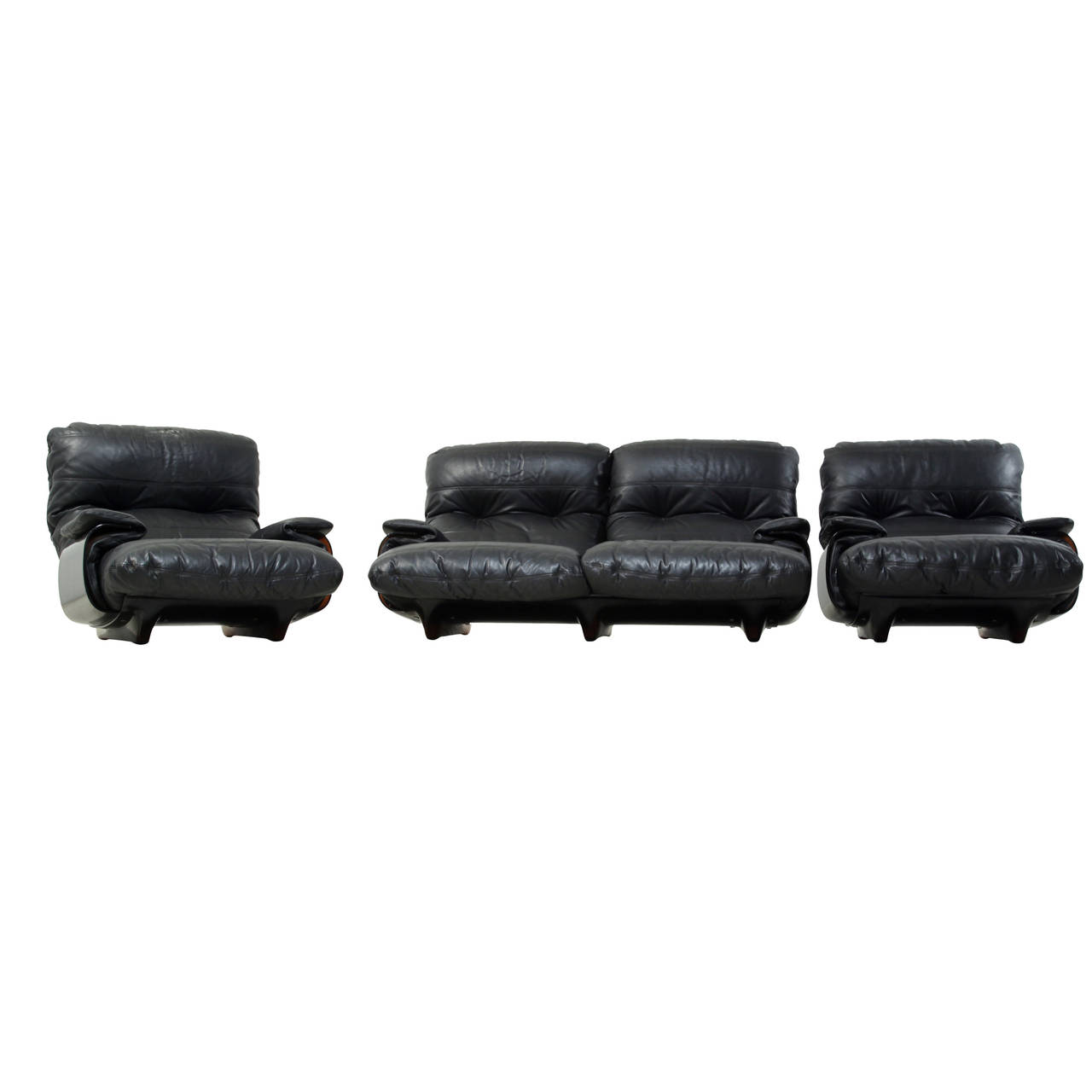 Ducaroy Ligne Roset Sofa Set in Brown Perspex with Black Leather