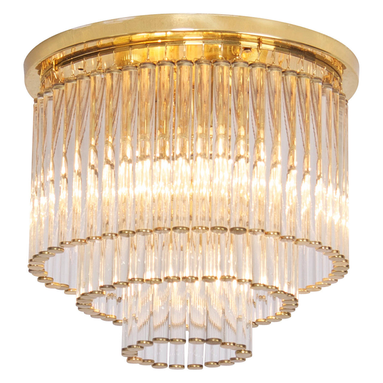 Glass and Brass Flush Mount Fixture by Ernst Palme in the Manner of Venini