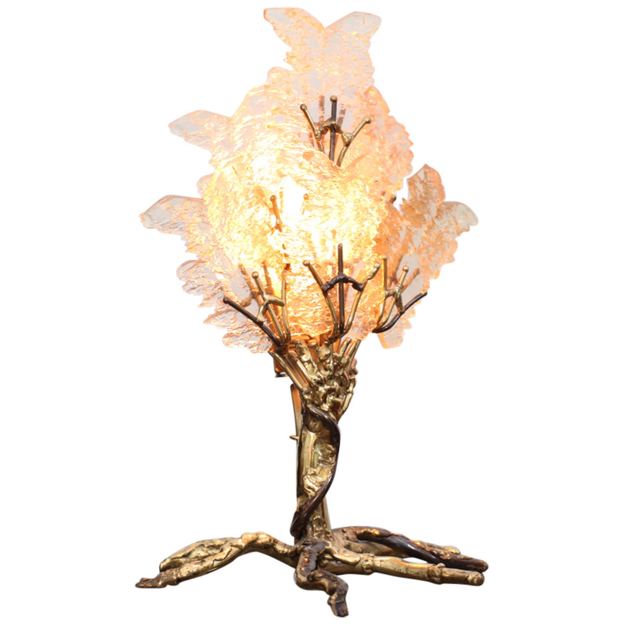 Beautiful Unique Brass Tree Table Lamp by Henri Fernandez