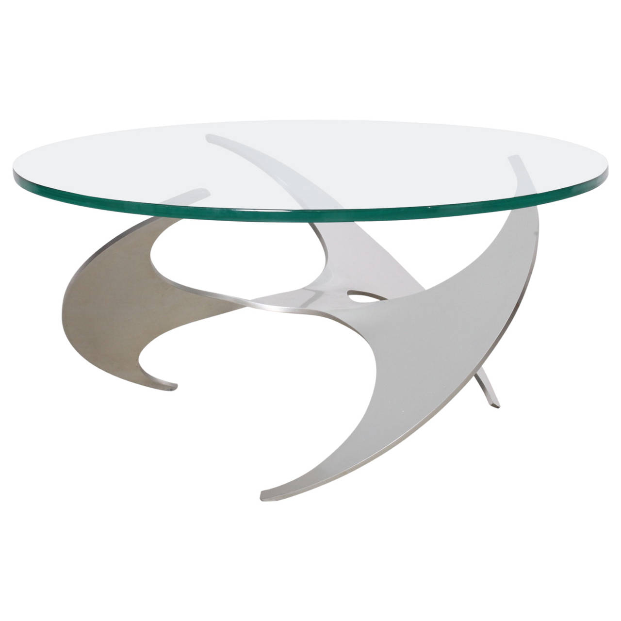 Aluminum and Glass Propeller Coffee Table by Knut Hesterberg for Ronald Schmitt
