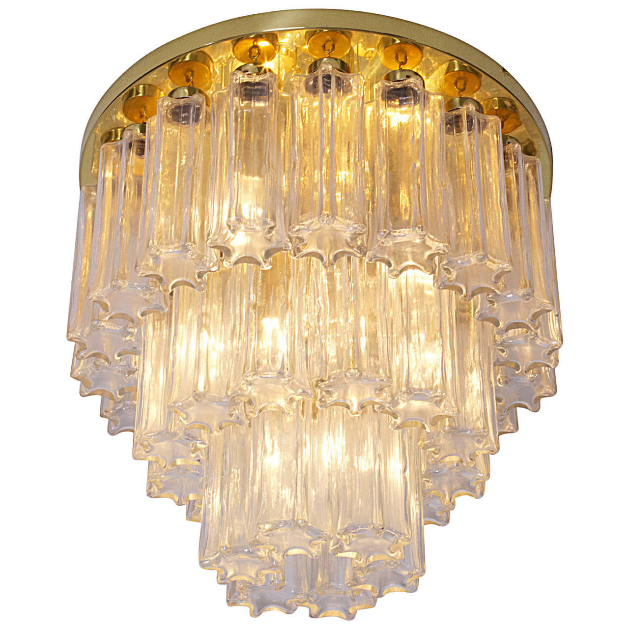 Glass and Brass Three-Tier Chandelier by Glashütte Limburg, Venini Style