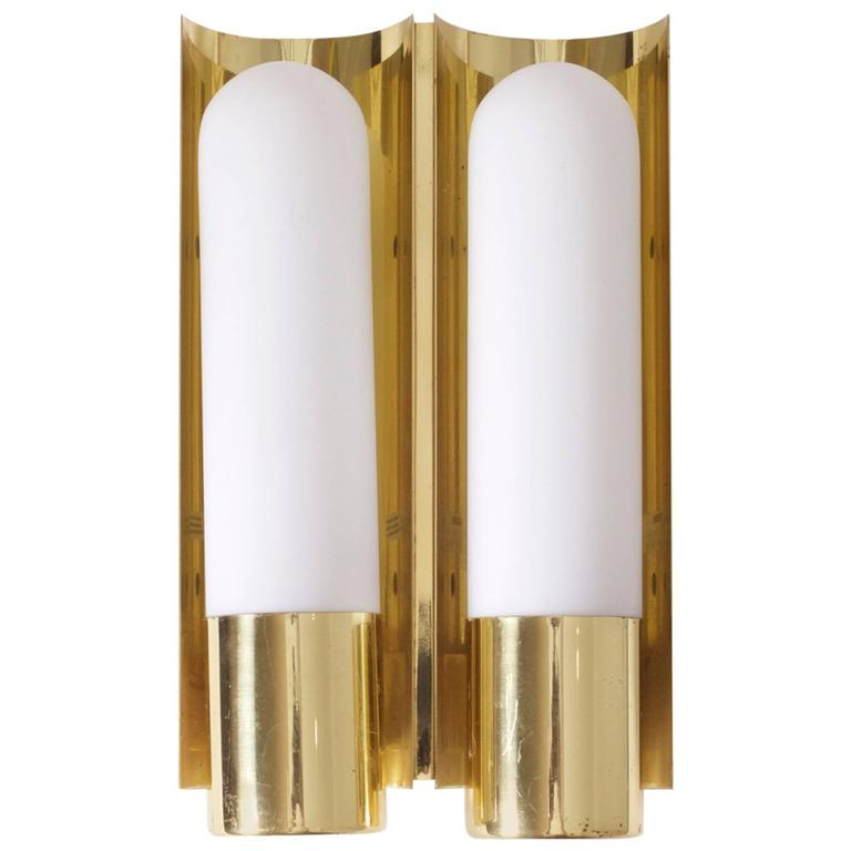 Set of Two Brass and Glass Wall Lights or Sconces by Glashütte Limburg