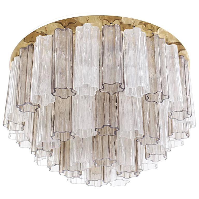 1 of 2 Huge Kalmar Tronchi Three-Tier Murano Glass Flush Mount Venini by Zuccher