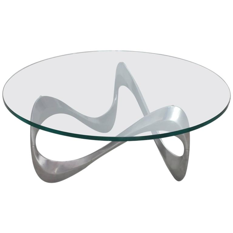 Aluminum and Glass Snake Coffee Table by Knut Hesterberg for Ronald Schmitt