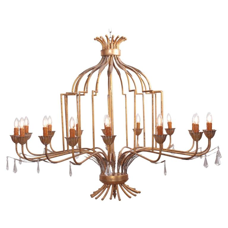 Extraordinary Huge Gilted Metal Chandelier from a Villa in France
