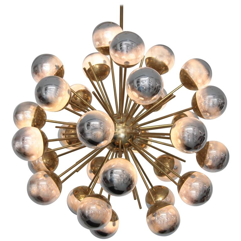 Exceptional Huge Sputnik Murano Glass and Brass Chandelier
