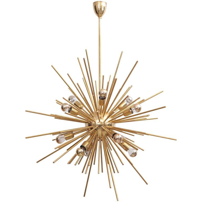 Exceptional Huge Brass Sputnik Chandelier