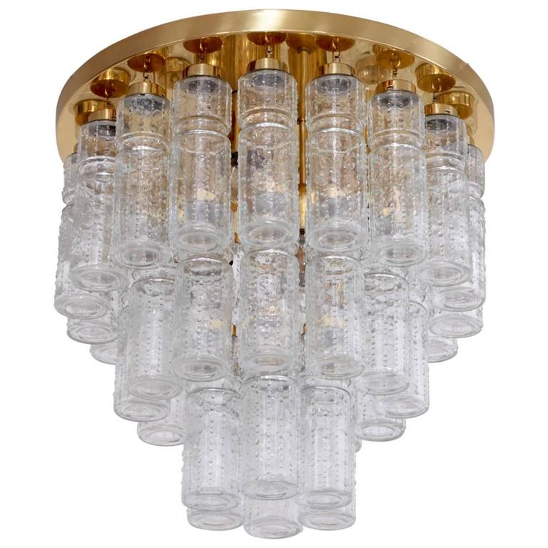 1 of 17 Huge Glass and Brass Flush Mounts or Chandeliers by Glashütte Limburg