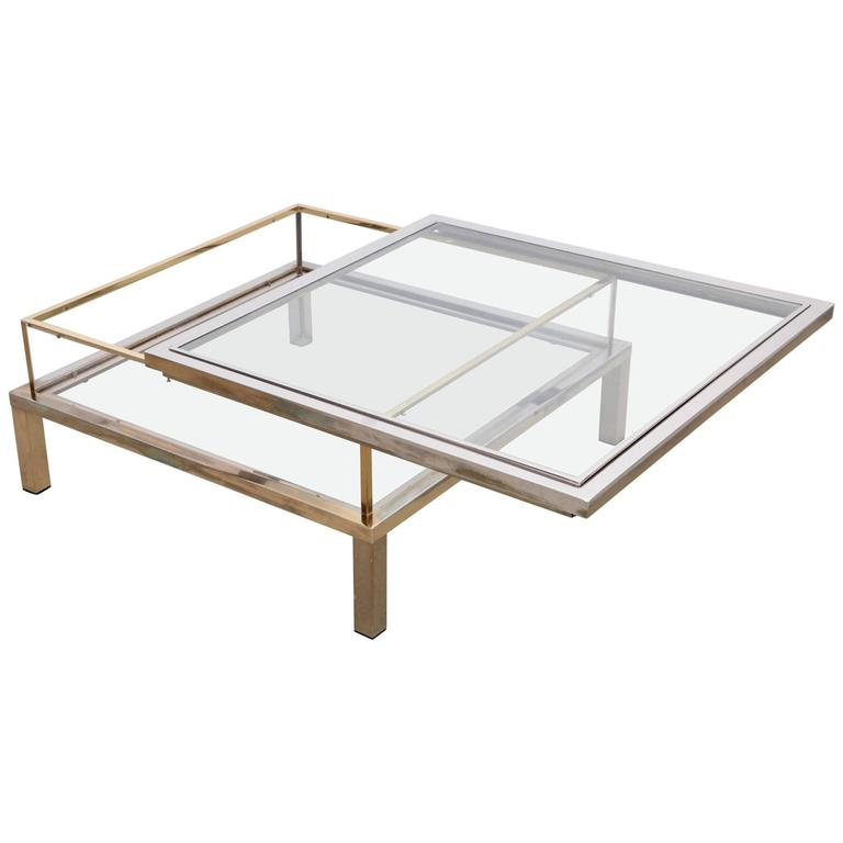 Maison Jansen Sliding Top Coffee Table in Brass and Chrome