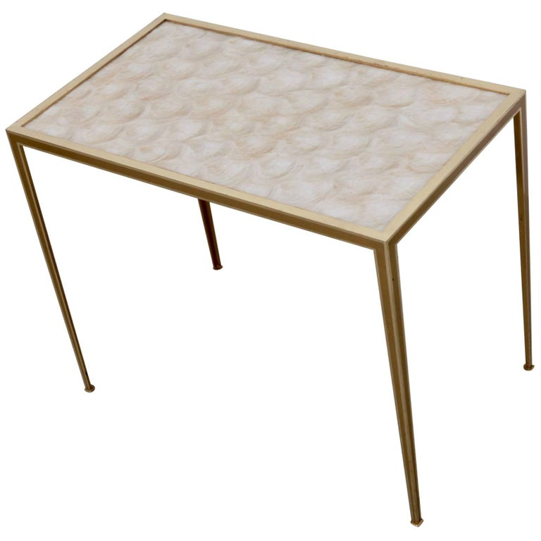 Brass and Mother-of-Pearl Side Table by Vereinigte Werkstätten München