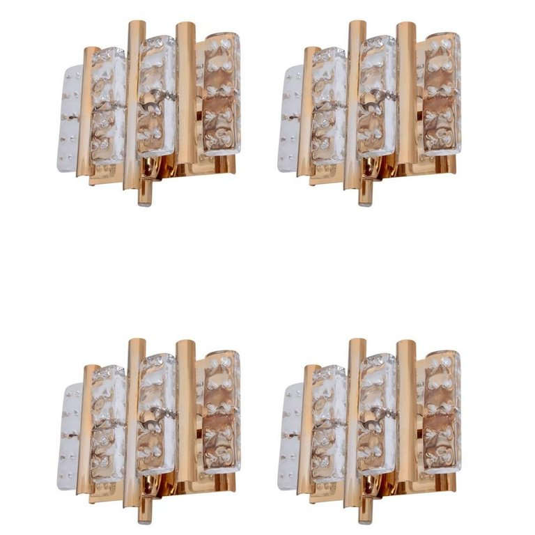 Set of 12 brass Carl Fagerlund Wall Lamps by Lyfa and Orrefors Glass