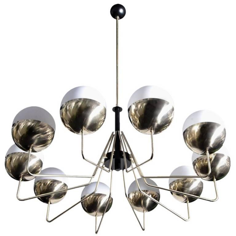1 of 2 Monumental Sputnik Chandelier in the Manner of Stilnovo