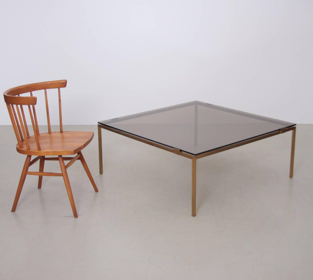 Elegant Glass And Metal Coffee Table: Elegant Brass And Glass Coffee Table In The Manner Of
