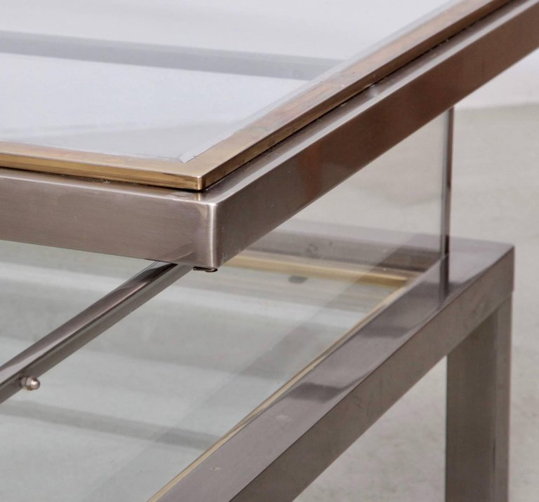 Lane Sliding Door Coffee Table: Huge Maison Jansen Sliding Top Coffee Table In Brass And