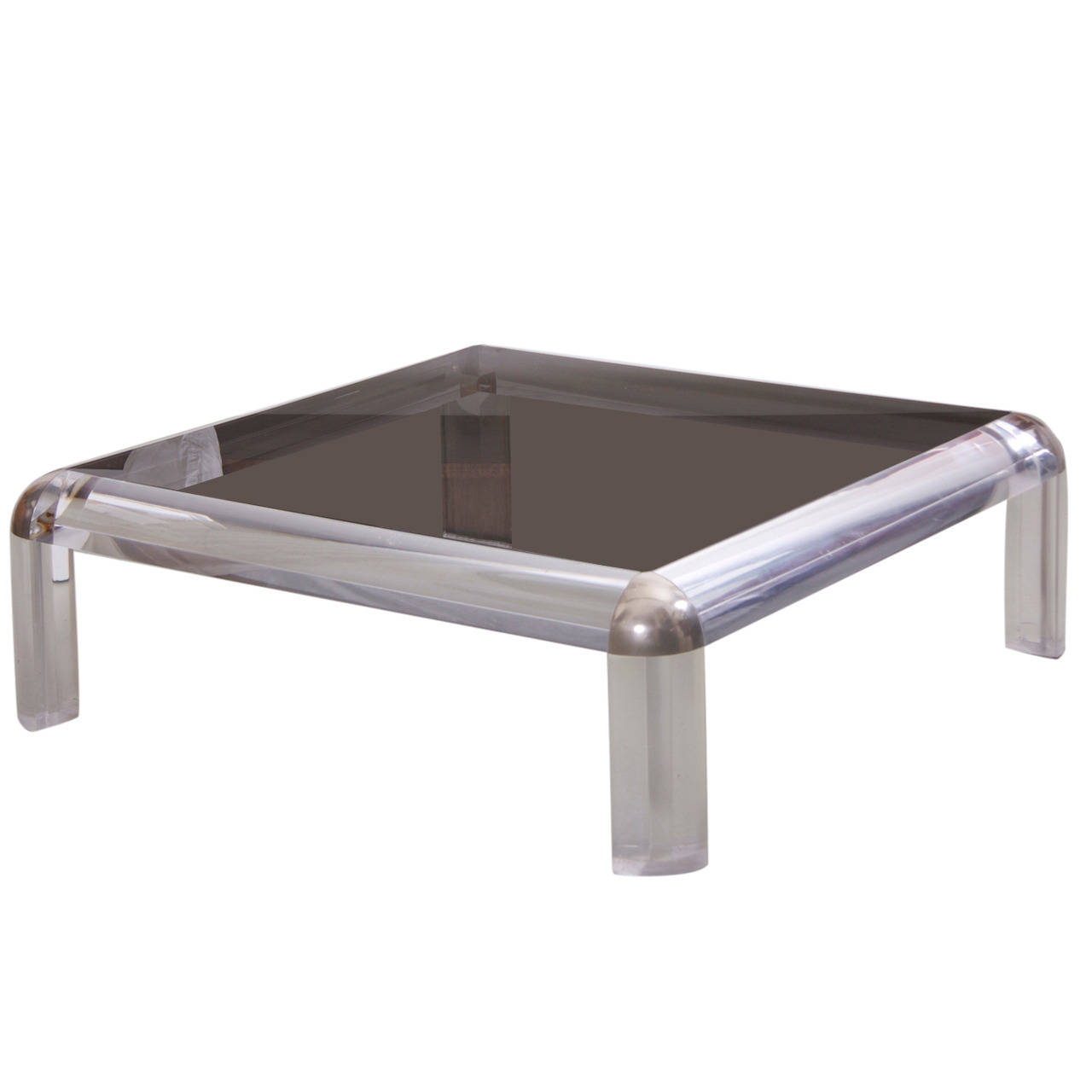 Lucite Chrome and Smoked Glass Square Coffee Table, Karl Springer Style